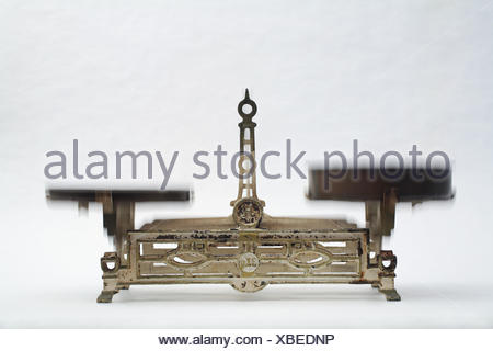 motion postponement moving movement rusty equilibrium scales weigh kilogram old - Stock Photo