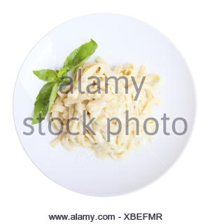 fettuccine with cheese. Top view. - Stock Photo