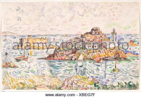 Morlaix, Entrance of the River. Artist: Paul Signac (French, Paris 1863-1935 Paris); Date: 1927; Medium: Black crayon and watercolor; Dimensions: 10 - Stock Photo