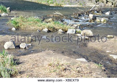 Entspannung mit einem idyllischer Blick,  ein schöner Platz an einen Wildwasser - Bachlauf mit kleinen Findlingen, Steinen, Gras und Sand, - Stock Photo