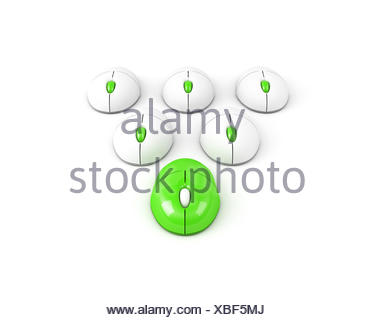 green leading computer mouse leadership concept - Stock Photo