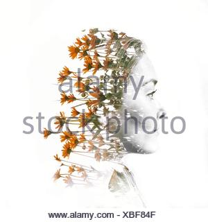 Digital Composite Of Woman Head With Flowers - Stock Photo