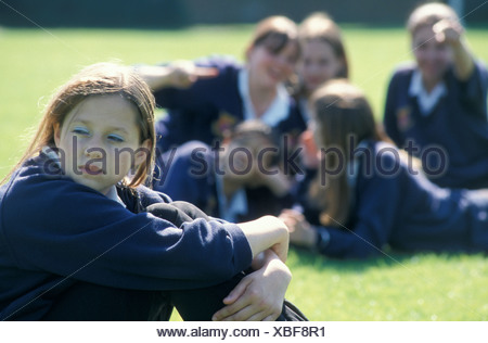 terrified teenage secondary schoolgirl being physically