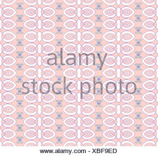 Abstract geometric seamless ornamental background. White ellipses pattern with purple outlines, purple diamond pattern and mint green spirals on pink. - Stock Photo