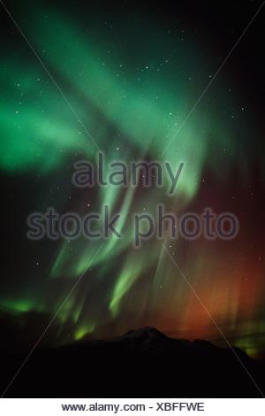 Aurora over Gunsight Mtn SC Winter Talkeetna Mtns - Stock Photo