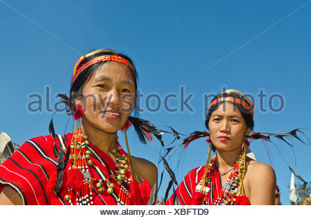 Women of the Phom tribe at the annual Hornbill Festival, Kohima, Nagaland, India, Asia - Stock Photo