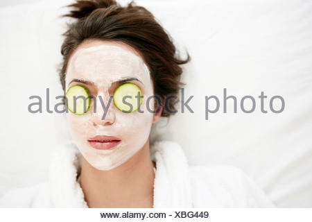 young, woman, wearing, face mask, fresh, relaxed, model, adult, female, 20-25 years, 18-19 years, caucasian, beauty, face, beaut - Stock Photo