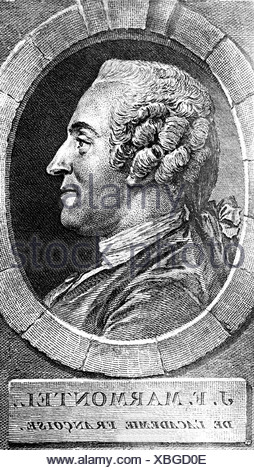 Marmontel, Jean Francois, 11.7.1723 - 31.12.1799, French author / writer, portrait, side view, copper engraving, , Artist's Copyright has not to be cleared - Stock Photo