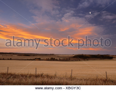 Sunset clouds over hay field near Water Valley, Alberta, Canada - Stock Photo