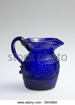 Pitcher. Date: 1820-40; Geography: Made in United States; Culture: American; Medium: Blown-molded glass; Dimensions: H. 4 in. (10.2 cm); - Stock Photo
