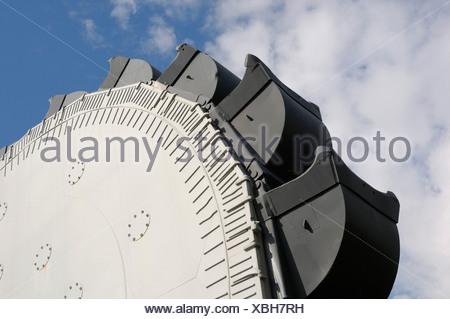Bucket wheel SRs 6300, overburden excavator, open-pit mining of brown coal - Stock Photo
