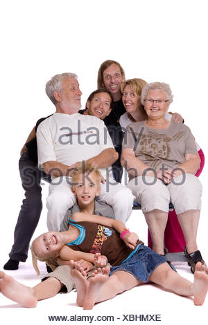 Studio family portrait of a crazy bunch - Stock Photo