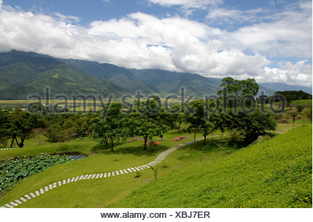 Asia, Taiwan, temple, Dong Fu Zan, East River Valley, valley, scenery, green - Stock Photo