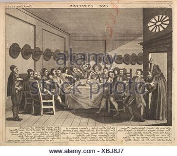 The Committee (Plate 10: Illustrations to Samuel Butler´s Hudibras). Artist: After William Hogarth (British, London 1697-1764 London); Publisher: - Stock Photo