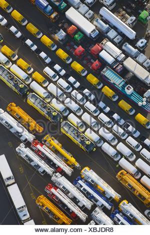 UNIKAI, vehicles for export, aerial view, Port of Hamburg, Hamburg, Germany - Stock Photo
