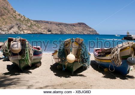 Fishing boats on beach of Tarrafal, Santiago, Cabo Verde, Cape Verde, Africa - Stock Photo