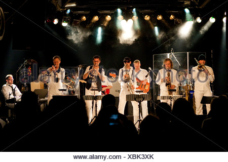 Swiss BrazzFunk formation Spinning Wheel performing live in the Schueuer, Lucerne, Switzerland, Europe - Stock Photo