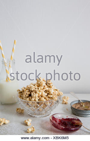 Peanut Butter and Jelly Popcorn - Stock Photo