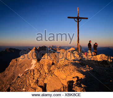 Birkkarspitze, sunrise, Vomper-Kette, Karwendel, Tyrol, Austria - Stock Photo
