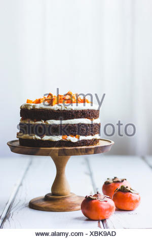 Persimmon layer cake - Stock Photo