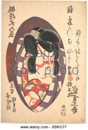 Portrait of Arashi Kichizaburo III (1810-1864) in the Role of Baiomaru. Artist: Utagawa Kunisada (Japanese, 1786-1865); Period: Edo period - Stock Photo
