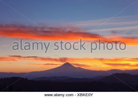 sunrise over mount hood; oregon united states of america - Stock Photo