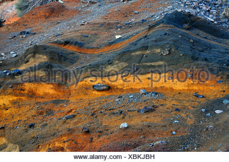 lava layers at  Caldera de Taburiente, Canary Islands, La Palma, np cal - Stock Photo