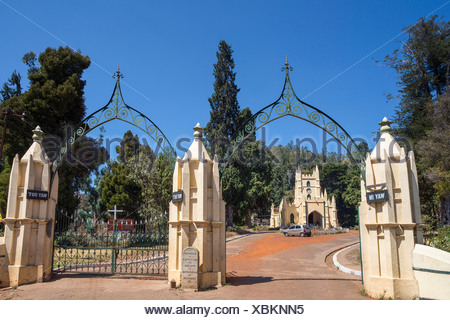 India, South India, Asia, Tamil Nadu, Ooty, Udhagamandalam, St. Stephan, Church, colonial, famous, unesco - Stock Photo