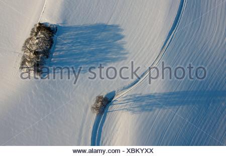 Aerial picture, snow-covered landscape, Blankenstein Auf Drehnhausen, Hattingen, Ruhr area, North Rhine-Westphalia - Stock Photo