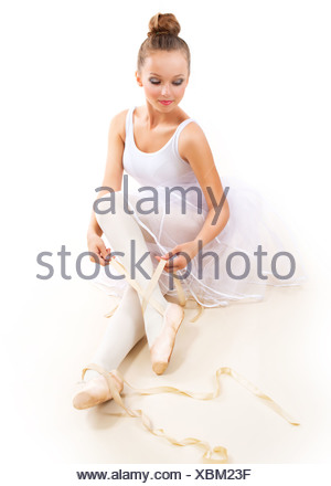 Ballerina. Pretty Ballet Dancer Wearing Pointes. Ballet Shoes - Stock Photo