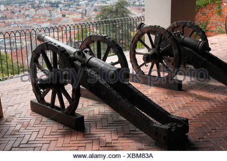 Cannons on Schlossberg, castle mountain, Graz, Styria, Austria, Europe - Stock Photo
