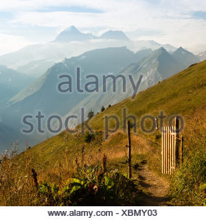 gate and path to the big mountain - Stock Photo