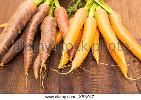 Urkarotten und Karotten auf einem Brett aus Holz - Stock Photo
