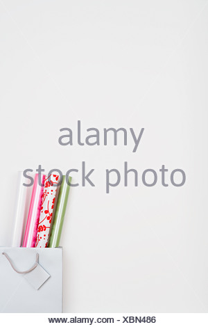 Wrapping paper in a bag - Stock Photo