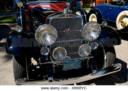1930 Cadillac, front detail, at a Classic Car Show in Belvidere, New Jersey, USA - Stock Photo