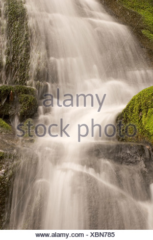 A small waterfall in late spring rushes over lichen-covered rocks. - Stock Photo