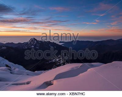 Glacier at sunset, Huayna Potosi, Cordillera Real, Bolivia - Stock Photo