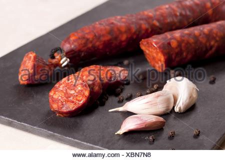 Spanish chorizo. - Stock Photo