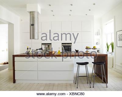 A white kitchen, Sweden. - Stock Photo
