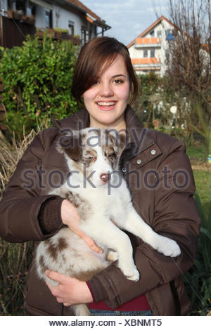 Girls, happy, Australian Shepherd, puppy, hold, half portrait, young animal, mammal, dog, pet, young, animal, young animals, person, brunette, joy, smile, outside, - Stock Photo