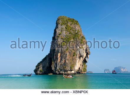 Longtailboats, Laem Phra Nang Beach, Krabi, Thailand - Stock Photo
