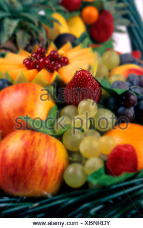 Variety of fruits, apples, grapes, strawberries, red currants - Stock Photo