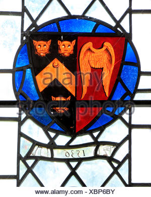 Stanhoe, Norfolk, Arms of Sir John Seymour of Wolf Hall, Wiltshire, 1536. Father of Queen Jane Seymour and Edward Seymour, Earl - Stock Photo