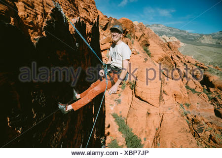 A climber on Panty Wall in Red Rock Canyon, Nevada - Stock Photo