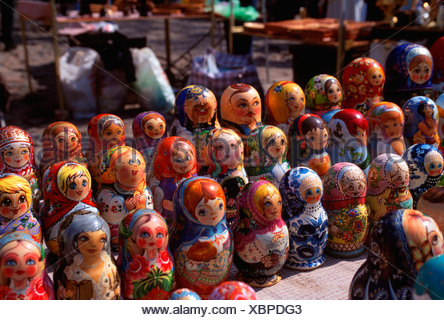 Matroschka, typical russian wood dolls, Kiev, Ukrainia - Stock Photo