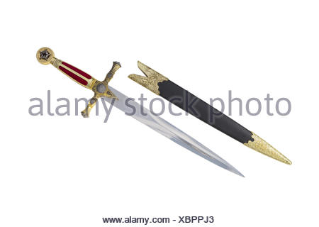 Old dagger with scabbard - Stock Photo