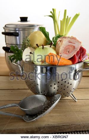 Prepared vegetables for Pot-au-feu - Stock Photo