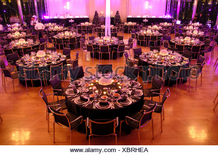 Event company evening decoration adornment table desk festival food dinner hall Food indoor indoors gala tables evening - Stock Photo