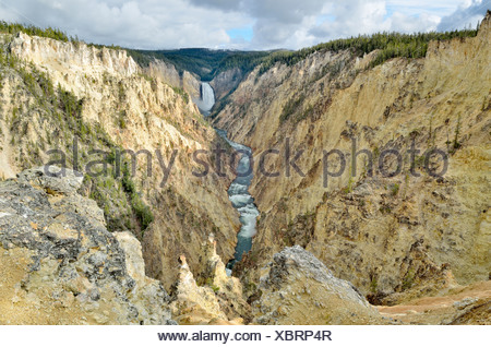 Lower Falls, view from Artist Point, South Rim, Grand Canyon of the Yellowstone River, Yellowstone National Park, Wyoming, USA - Stock Photo