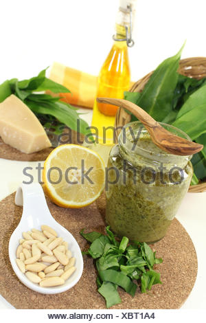 wild garlic pesto - Stock Photo